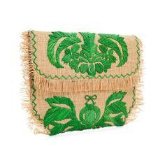 Green Weave Straw Capability Clutch  ANYA HINDMARCH  £350.00