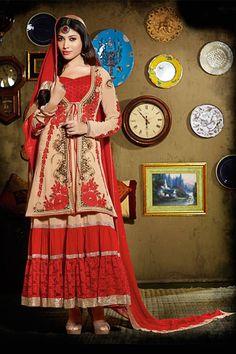 Ravishing Beige, Red Georgette, Net Designer Anarkali Suit With Jacket