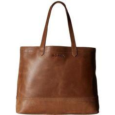 SOREL Leather Tote (Elk) Tote Handbags ($300) ❤ liked on Polyvore featuring bags, handbags, tote bags, leather tote purse, leather handbag tote, tote handbags, handbags totes and leather tote