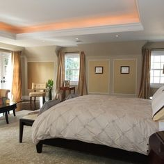 master bedroom style with coffered ceiling | Bedroom tray ceiling Design Ideas…