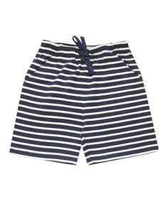 Look what I found on #zulily! Navy & Ecru Stripe Bermuda Shorts - Infant, Toddler & Boys #zulilyfinds