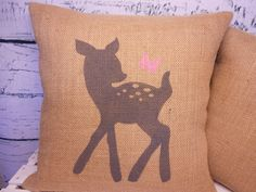 Child's deer & butterfly, monogram burlap pillows - set of 2 - perfect for a rustic woodland nursery - Pillow Inserts Sold Separately. $43.00, via Etsy.