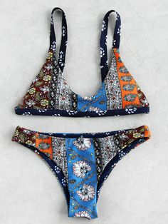 d00d8ef4a0a55 MakeMeChic - MAKEMECHIC Mixed Print Triangle Bikini Set - AdoreWe.com