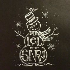 bonhomme de neige noir blanc dessin writing let it snow retro déco