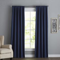 Charlton Home Columbia Solid Blackout Thermal Rod Pocket Single Curtain Panel Size per Panel: L x W, Curtain Color: Artichoke Dark Blue Curtains, Blue Curtains Living Room, Navy Living Rooms, Blue Living Room Decor, Colorful Curtains, Navy Blue And Grey Living Room, Silver Living Room, Dark Grey Rooms, Yellow Master Bedroom
