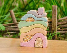Waldorf Pastel BIG House Stacker Puzzle, birch, wooden toys for Toddlers and Children Handmade Eco Friendly Toy Waldorf Toy