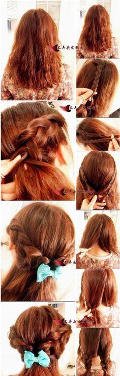 Easy Braids with Pretty Accessories Disney Hairstyles, Princess Hairstyles, Pretty Hairstyles, Braided Hairstyles, Female Hairstyles, Belle Hairstyle, Hair Today, Hair Dos, Hair Designs