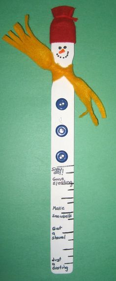1 2 3 Learn Curriculum Snowman Paint Stick Craft Maybe Add Measurements To Measure Snow Fall