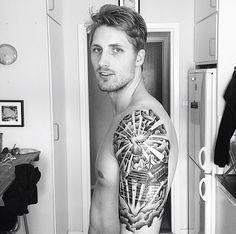 Half sleeve tattoo, stairway to heaven tattoo, cloud tattoo, dove tattoo