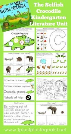 Kindergarten Literature Unit Study Printables to go along with the book,  Selfish Crocodile   -- FREE from @{1plus1plus1} Carisa #Kindergarten http://www.1plus1plus1equals1.net/2014/06/selfish-crocodile-kindergarten-literature-unit-printables/