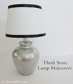 Thrift store lamp makeover. Spray painted base, love the DIY ribbon trim on the shade.