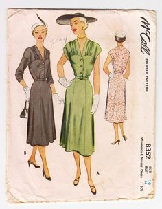 1950s McCall 8352 Woman's Dress With Gathered Yoke Detail And Deep V Neckline - Size 16 Bust 34 - Vintage Sewing Pattern by CircaPatterns on Etsy https://www.etsy.com/listing/226947019/1950s-mccall-8352-womans-dress-with