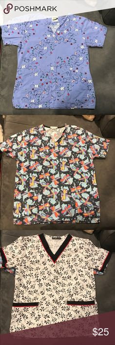 6 scrub tops 6 scrub tops. All are size small, except the first one and it is XS. Will sell individual also. Please ask if you want more pictures or have questions. All have been worn, but are still in good condition. My work started providing uniforms, so I can't wear these anymore. Tops