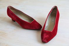 Vintage Gianni Versace Red Velvet Shoes Heels Size by LaDonnaPrive