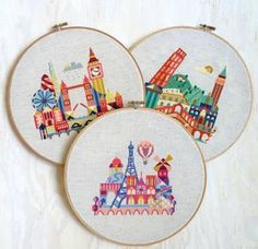 See the world from your couch with travel inspired cross stitch pattens: I see London, I see France...