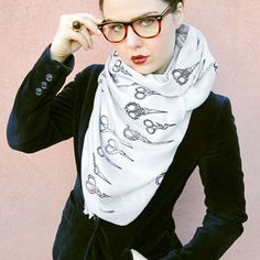 Antique Scissor Scarf Gray now featured on Fab.... love it for hair dressers