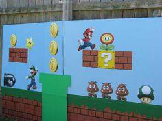 Super Mario backdrop I made Super Mario Party, Super Mario Birthday, Mario Birthday Party, 30th Birthday, Mario Bros., Mario And Luigi, Nintendo Party, Video Game Party, Pokemon Party