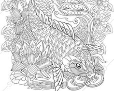 Adult Coloring Pages. Carp Koi Fish. Zentangle Doodle Coloring Pages for Adults. Digital illustration. Instant Download Print.