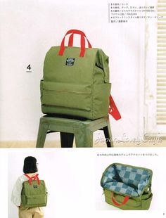 Casual Day Pack Bag Patterns, Japanese Sewing Pattern Book, Easy Sewing Tutorial, Student backpack, Handmade Bags Gift, Daily Bag, B1945