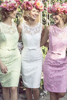 Love the vintage-like dresses, hate the head piece #wedding #vintage #vintagewedding
