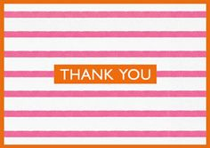 Pink/White Bretagne Thank You Notes - 8 per box