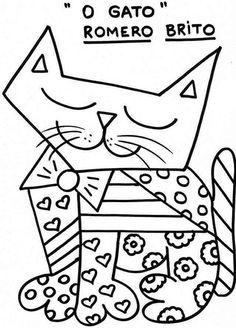 Romero Britto para colorir - Gato                                                                                                                                                                                 Mais