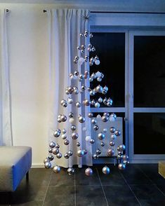 Simple But Creative Christmas Tree DIY For Your Inspiration; DIY The Coolest Christmas Tree; Creative Christmas Trees, Easy Christmas Decorations, Easy Christmas Crafts, Diy Christmas Tree, Simple Christmas, Christmas Ornaments, Xmas Trees, Christmas Ideas, Christmas Tree Hanging From Ceiling