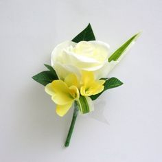 Artificial Silk Wedding Flowers - Ivory and Yellow Buttonhole