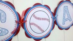 baseball theme party | ... Banner - ITS A BOY Sign - Baseball Blue and Red Theme Party De