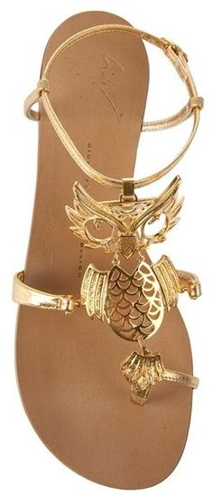 Giuseppe Zanotti shoes > gold flats. Owl-embellished sandals. Stunning!