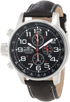 """Invicta Men's 2770 """"Force"""" Collection Stainless Steel and Leather """"Lefty"""" Military Watch"""