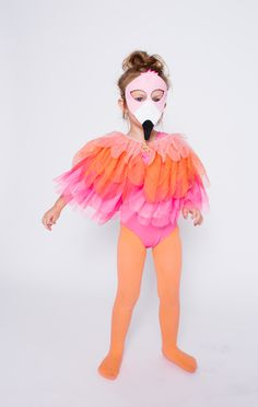 Kid's Flamingo Bird Costume with Opposite of Far Flamingo Halloween Mask // June & January Knit Tights and Leotard // Target shoulder piece