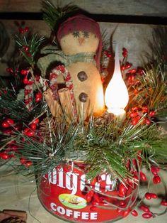 Nanny Goat Primitives: Primitive Snowman in Vintage Folger's Coffee Can Lamp Primitive Christmas, Christmas Snowman, Rustic Christmas, Winter Christmas, Handmade Christmas, Vintage Christmas, Christmas Holidays, Christmas Crafts, Christmas Bulbs