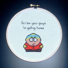 South Park Cartman cross-stitch pattern South Park, Cross Stitching, Cross Stitch Embroidery, Geeks, Stitch Witchery, Stitch Cartoon, Nerd Crafts, Cross Stitch Letters, Crochet Cross