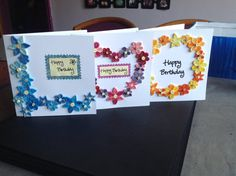 Set of 3 Paper Quilling Greeting Cards by QuillsForCards on Etsy