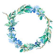 romântico coroa de flores em aquarela pintada Azul - ilustração de arte em vetor
