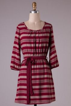 Quarter sleeve stripe detailed woven dress with self tying waist
