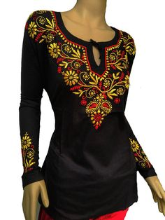 Gift for women oversized tunic black dress hand embroidered