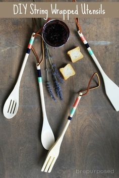 These DIY string wrapped wooden kitchen utensils are gorgeous, easy to make and can be customized for any color combination ~ love them!