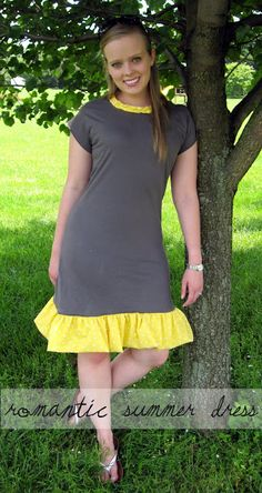 Romantic summer dress, {a tutorial} - tshirt recon - could make this into a nursing dress