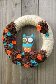 RESERVED Owl Yarn Wreath Brown Orange Teal  14 by TheLandofCraft, $40.00