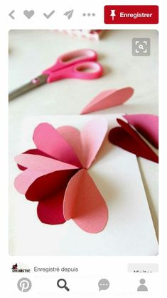 Flower By Hearts Card Tutorial - DIY Flower Heart Card Tutorial for Valentines Day, Easy craft!DIY Flower Heart Card Tutorial for Valentines Day, Easy craft! Mothers Day Crafts, Valentine Day Crafts, Holiday Crafts, Valentines Origami, Diy Valentines Cards, Valentine Party, Kids Valentines, Kids Crafts, Easy Crafts
