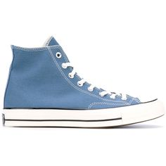 Converse hi-top sneakers (200 BRL) ❤ liked on Polyvore featuring shoes, sneakers, blue, unisex shoes, high top shoes, high top trainers, blue high top sneakers and converse high tops