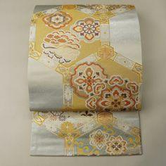 Silver and gold, silk fukuro obi /【袋帯】未使用品/特選品/リサイクル着物/白銀地 亀甲瑞祥文様 六通