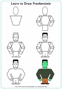 Learn to draw Frankenstein step by step tutorial
