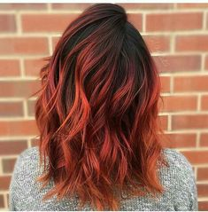 dark brown to aubrun to orange ombre balayage sunset hair Orange Ombre Hair, Ombre Hair Color, Brown To Red Ombre, Burnt Orange Hair, Orange Red, Dark Brown, Hair Color And Cut, Cool Hair Color, Hair Colors