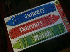 Crayon Monthly Calendar Headers FOR Classroom Teachers Daycares Homeschoolers   eBay