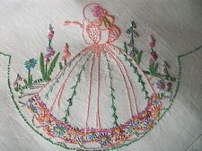 Vintage Hand Embroidered Tablecloth - CRINOLINE LADIES & FLORAL GARDENS