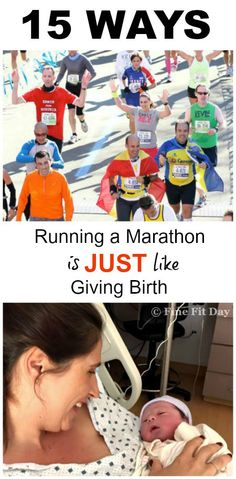 If you think of the pain, the blood, sweat and tears, then you immediately think YES! But you may be surprised by some of these ways running a marathon is just like giving birth. (And a few that prove it's totally different: like your medal doesn't try to nurse.) Runners and moms need to check out this funny list of why training for a marathon is just like having a baby! | running | marathon | motherhood | Second Pregnancy, Pregnancy Workout, Fit Pregnancy, First Marathon, Marathon Running, Keep Running, Running Tips, Funny Lists, Running Memes