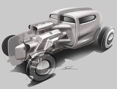 Hot rod car design sketch, rat rod, Industrial design digital sketches, concept car renders, vehicle concept idea sketches, automotive renderings from a designer sketchbook, speed form studies, black and white, cool gray, neutral gray grayscale digital hand rendering, using wacom tablet in Photoshop, or copic marker on paper.